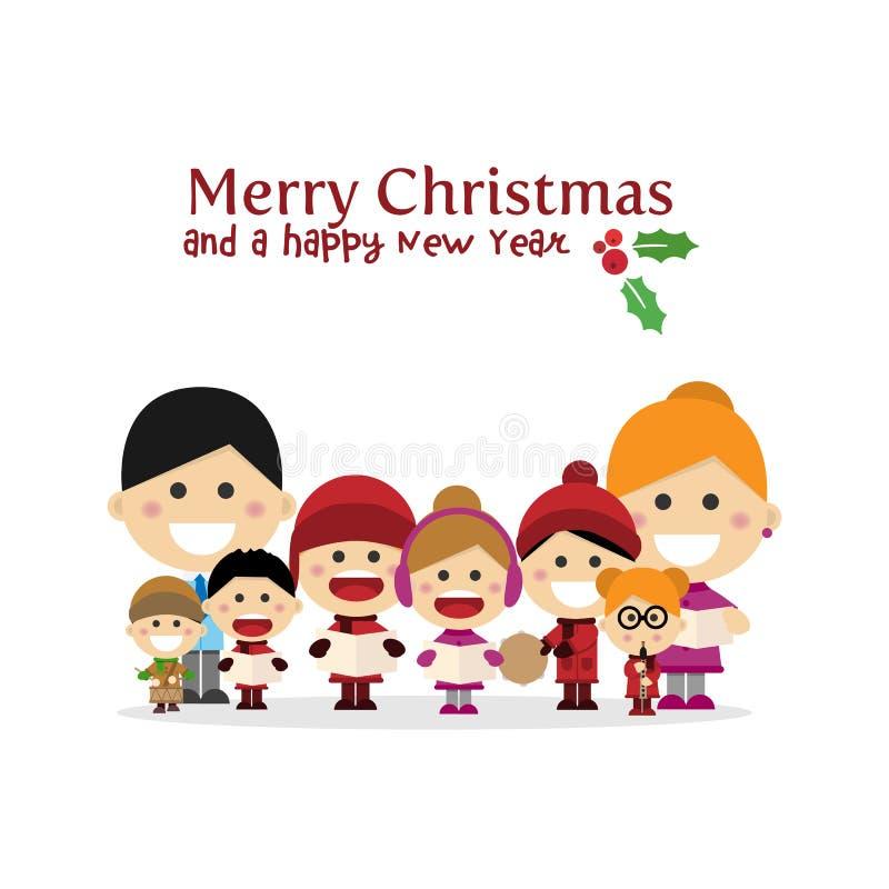 逗人喜爱的家庭唱歌颂歌在圣诞夜里 皇族释放例证