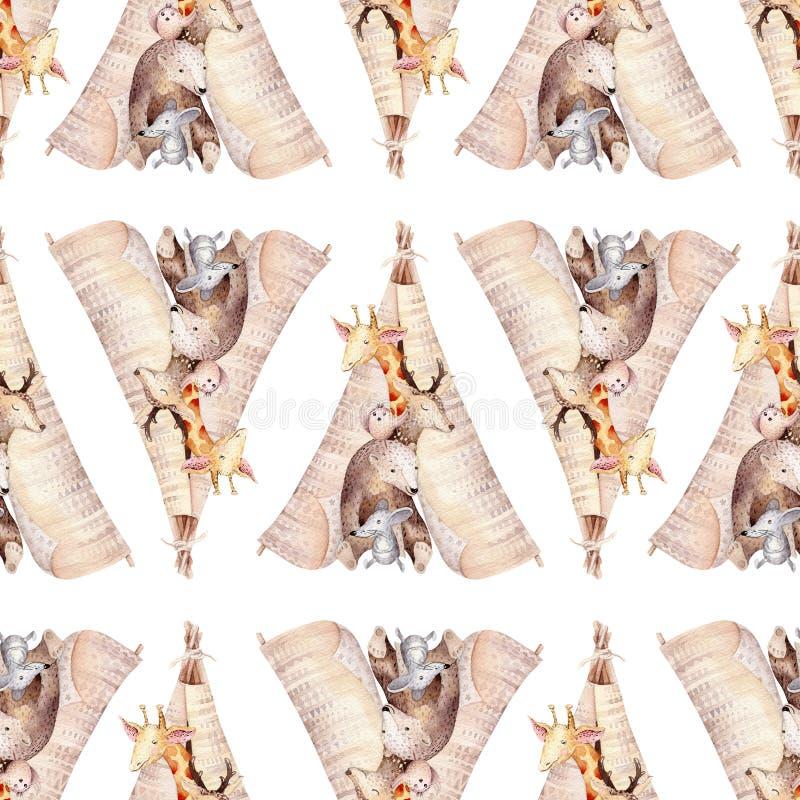 逗人喜爱的家庭婴孩raccon、鹿和兔宝宝 动物托儿所长颈鹿和熊隔绝了例证 水彩boho raccon 免版税图库摄影