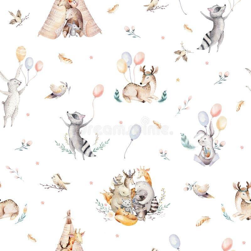逗人喜爱的家庭婴孩raccon、鹿和兔宝宝 动物托儿所长颈鹿和熊隔绝了例证 水彩boho raccon 皇族释放例证