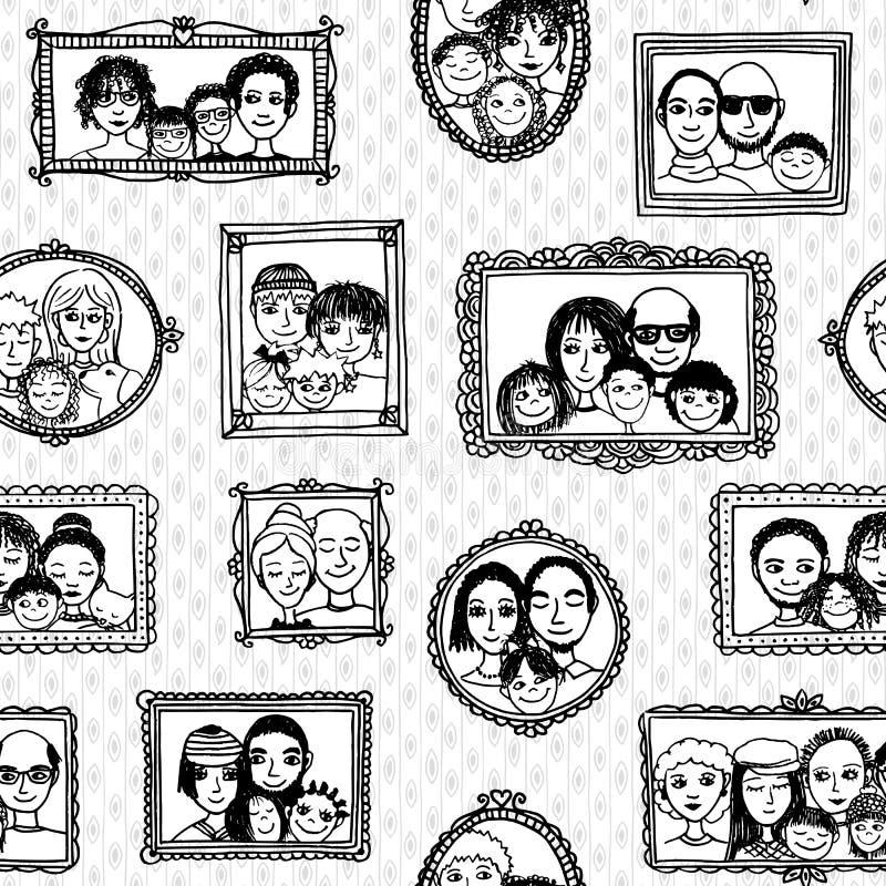 逗人喜爱的家庭画象的无缝的样式 库存例证