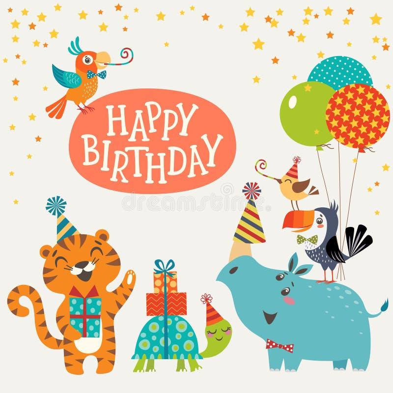 逗人喜爱的密林动物生日快乐卡片 向量例证