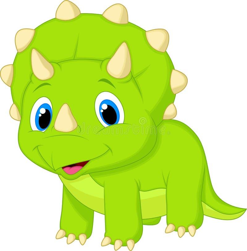 逗人喜爱的小三角恐龙动画片 库存例证