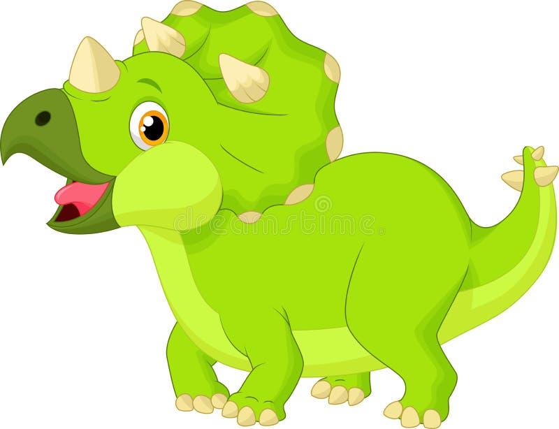 逗人喜爱的小三角恐龙动画片 向量例证