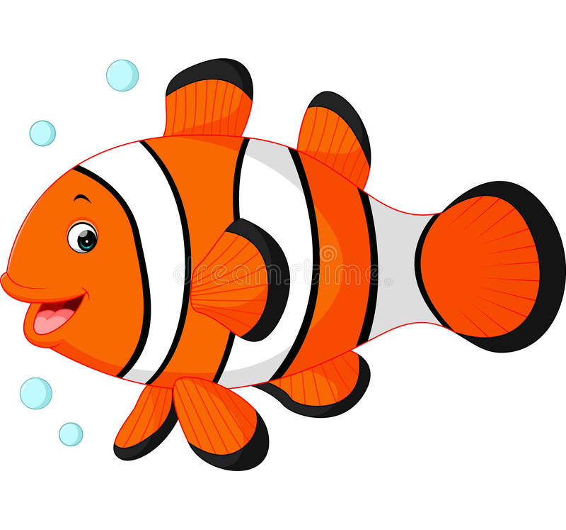 逗人喜爱的小丑鱼动画片 皇族释放例证