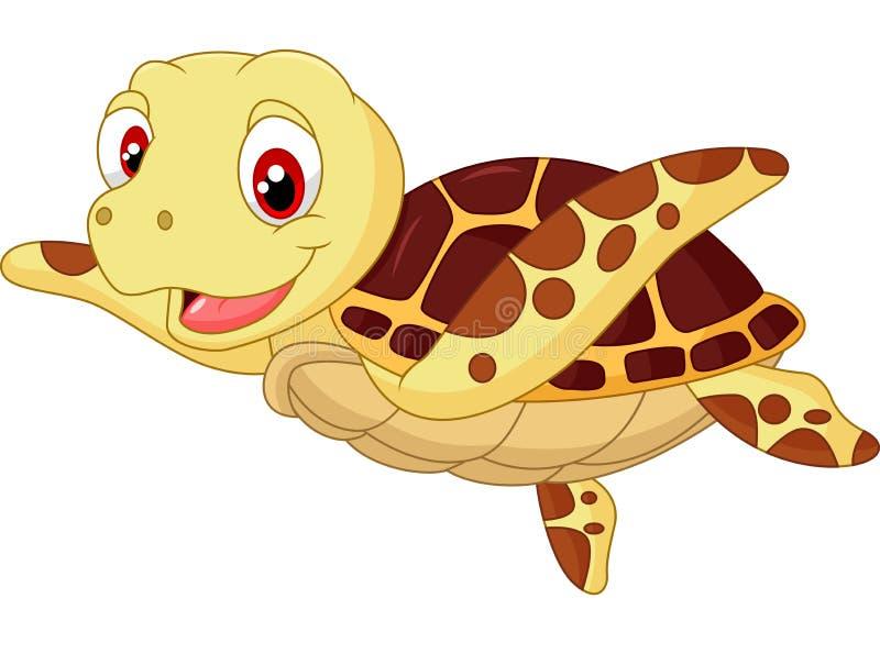 逗人喜爱的小乌龟动画片 向量例证