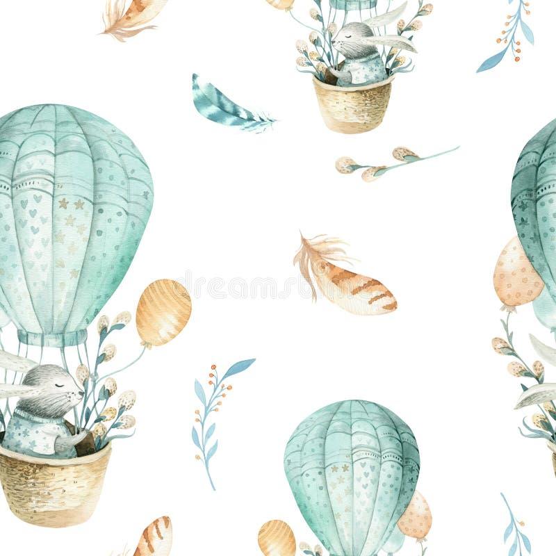 逗人喜爱的小兔子动物无缝的样式,儿童衣物的森林例证 森林地水彩手拉的boho 皇族释放例证