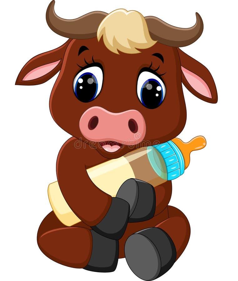 逗人喜爱的小公牛动画片 库存例证