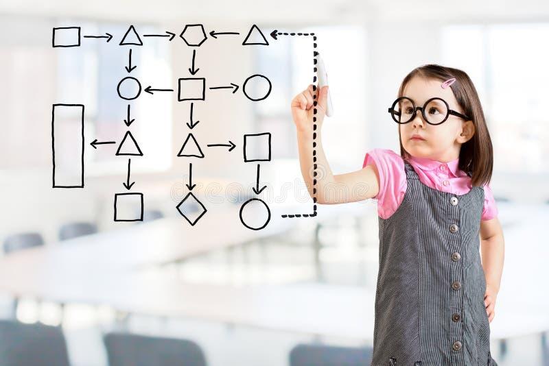 逗人喜爱的小女孩佩带的企业礼服和写处理流程图图在屏幕上 办公室背景 免版税图库摄影