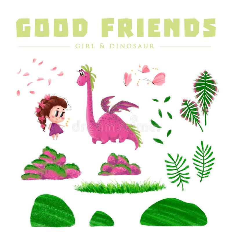 逗人喜爱的小女孩和友好的恐龙的手拉的艺术性的收藏与被隔绝的自然元素 皇族释放例证