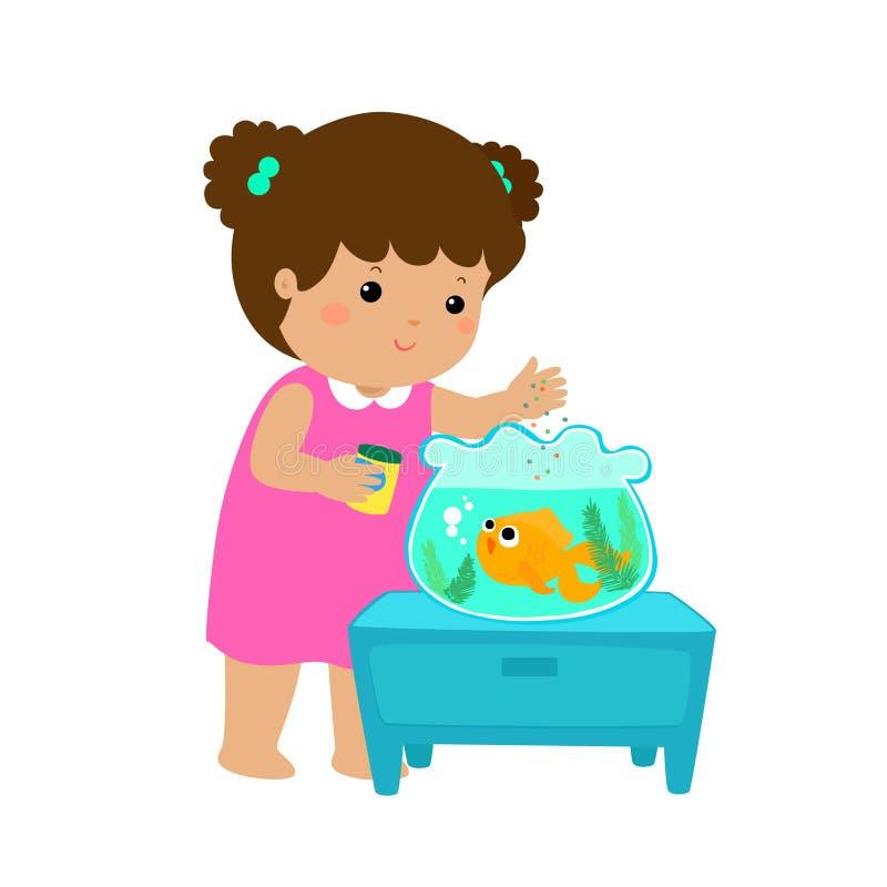 逗人喜爱的小女孩哺养的鱼的例证在水族馆cartoo的 皇族释放例证