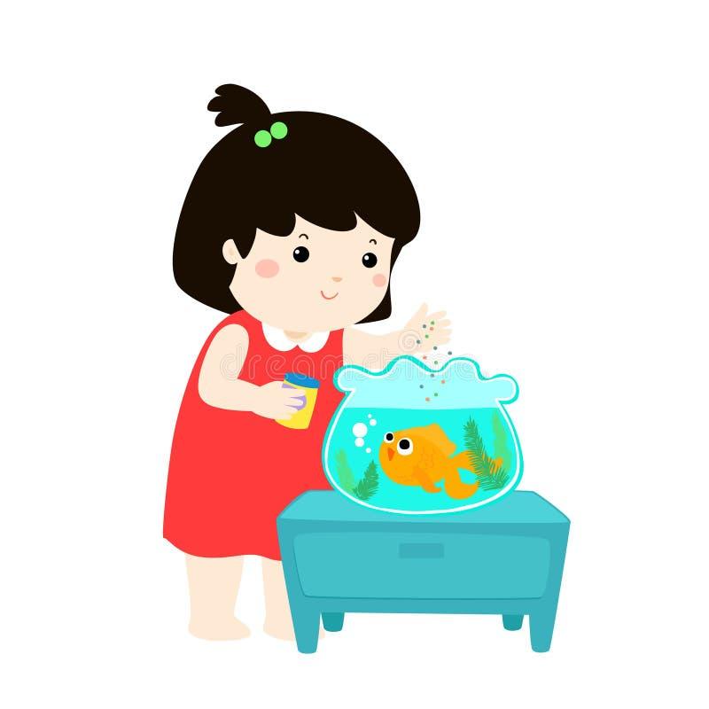 逗人喜爱的小女孩哺养的鱼的例证在水族馆cartoo的 向量例证