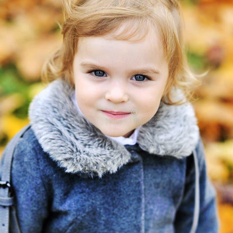 逗人喜爱的小女孩在秋天公园 免版税库存照片