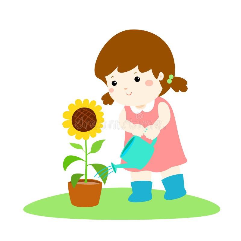 逗人喜爱的小女孩浇灌的向日葵动画片 向量例证