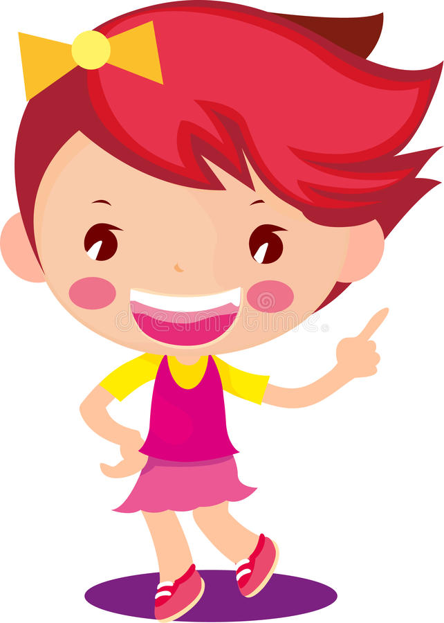 逗人喜爱的小女孩漫画人物 免版税库存照片