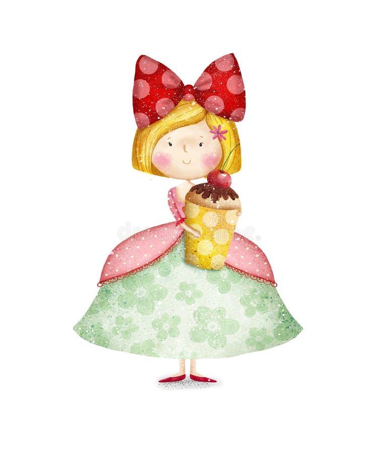 逗人喜爱的小女孩用杯形蛋糕 生日贺卡eps10问候例证向量 库存例证