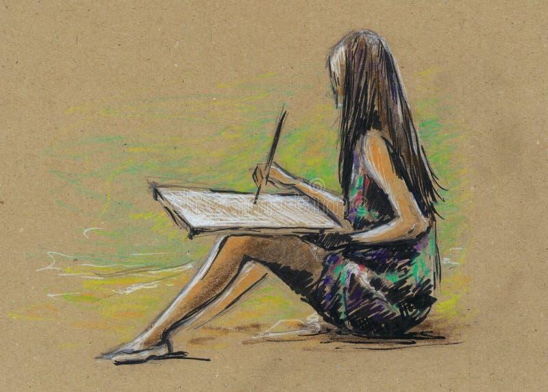逗人喜爱的小女孩画 用手画 向量例证