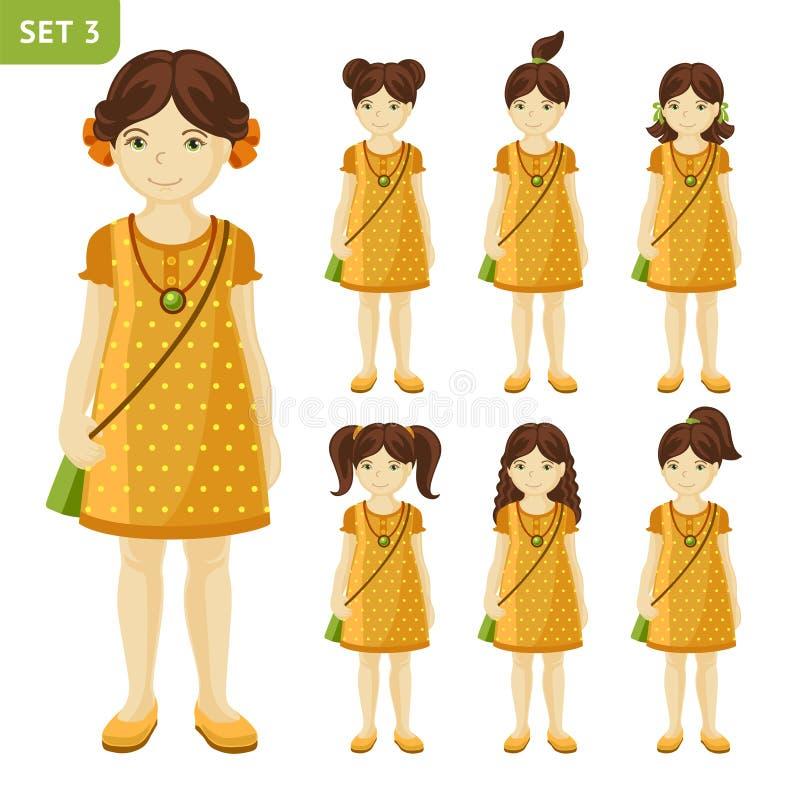 逗人喜爱的小女孩的汇集用不同的发型的 向量例证