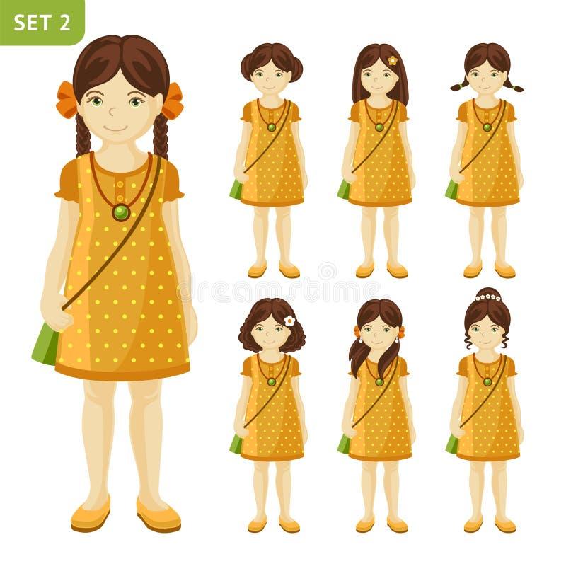 逗人喜爱的小女孩的汇集用不同的发型的 皇族释放例证