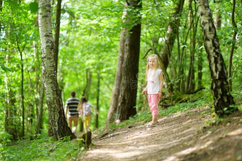 逗人喜爱的小女孩获得乐趣在森林远足期间在美好的夏日 免版税库存图片