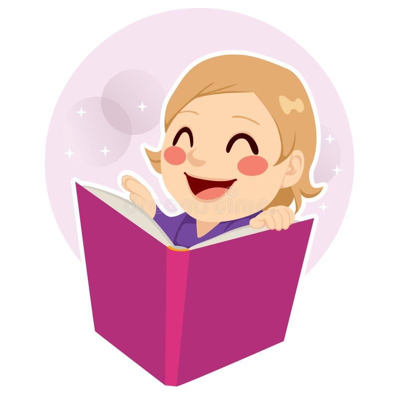 逗人喜爱的小女孩读书 向量例证
