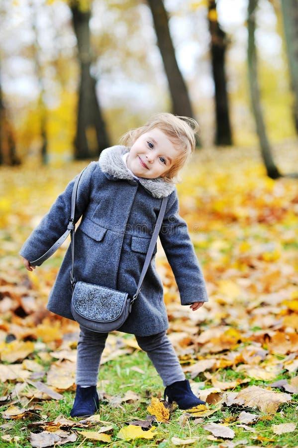 逗人喜爱的小女孩画象在秋天公园 库存图片