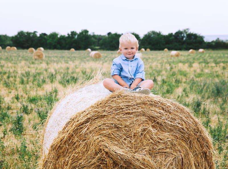 逗人喜爱的小孩男孩坐干草堆在麦田 免版税库存照片