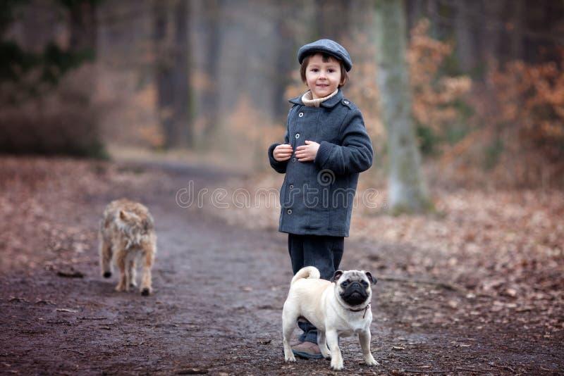 逗人喜爱的小孩,使用与小的爱犬在森林里 免版税库存照片