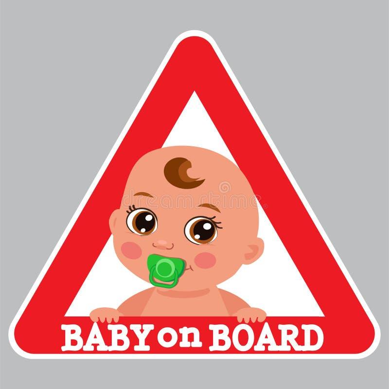 逗人喜爱的小孩 男婴在船上特大张贴广告传染媒介例证 皇族释放例证