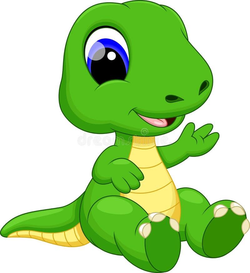 逗人喜爱的小恐龙动画片 库存例证
