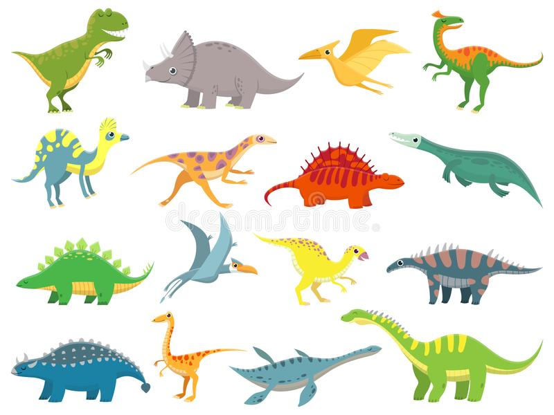 逗人喜爱的小恐龙 恐龙龙和滑稽的迪诺字符 幻想动画片恐龙传染媒介例证集合 向量例证