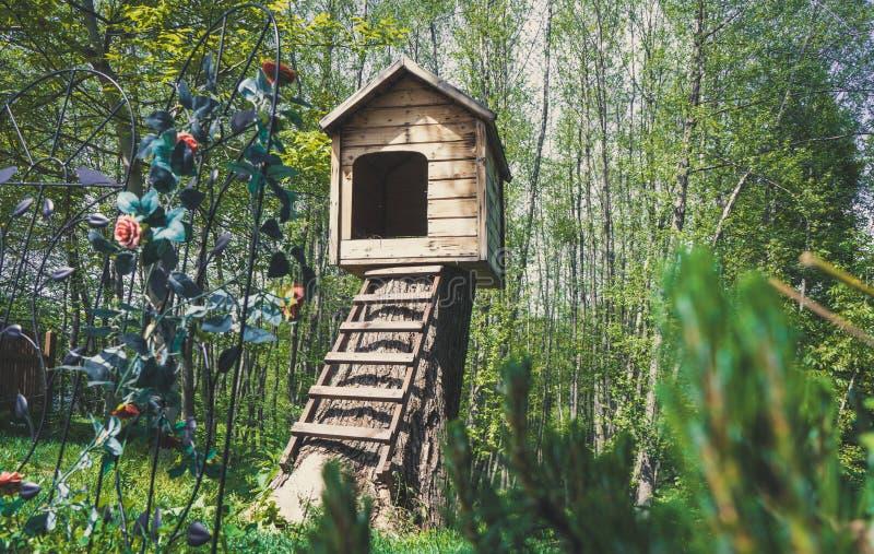 逗人喜爱的小木犬小屋在有台阶的一个庭院里 库存图片