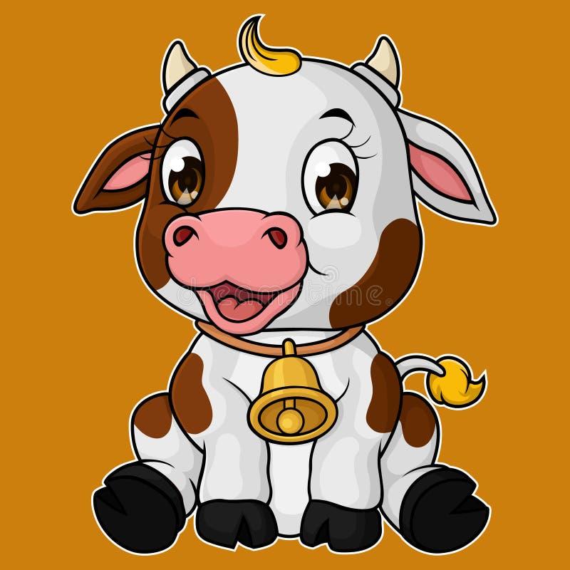 逗人喜爱的小母牛动画片开会 皇族释放例证