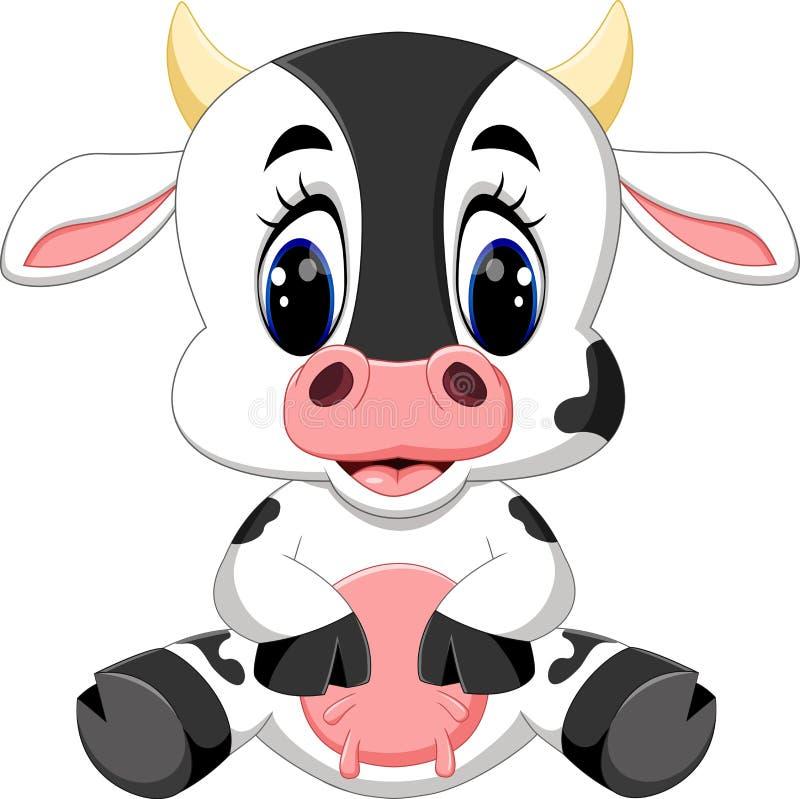 逗人喜爱的小母牛动画片 皇族释放例证