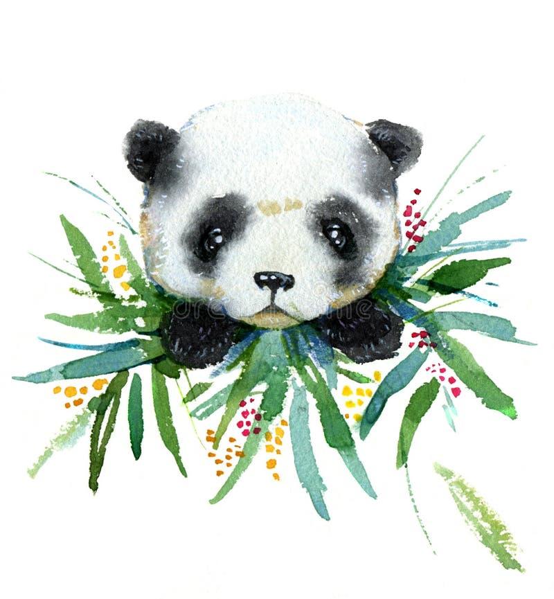 逗人喜爱的小熊猫熊的水彩手拉的例证在竹子的为孩子卡片、印刷品、纺织品和海报离开 皇族释放例证
