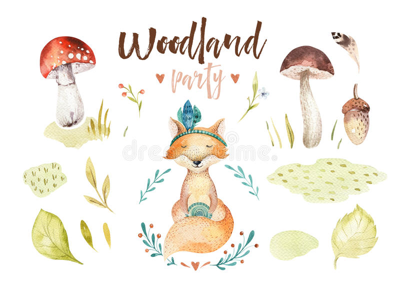 逗人喜爱的小狐狸动物托儿所隔绝了孩子的例证 水彩boho森林图画,水彩森林地 皇族释放例证