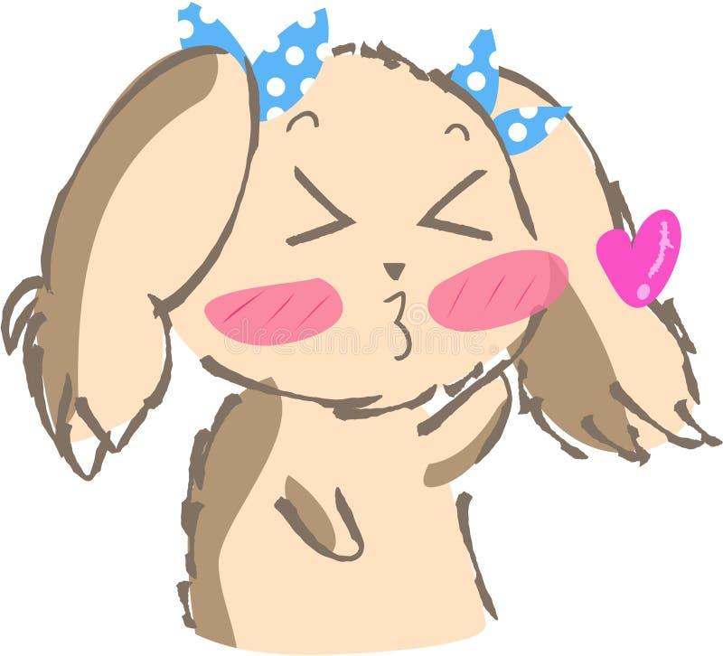 逗人喜爱的小狗亲吻象 向量例证