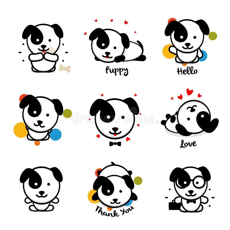 逗人喜爱的小狗传染媒介商标集合 喜爱的宠物略写法收藏 动画片样式的快乐和快乐的人的朋友 向量例证