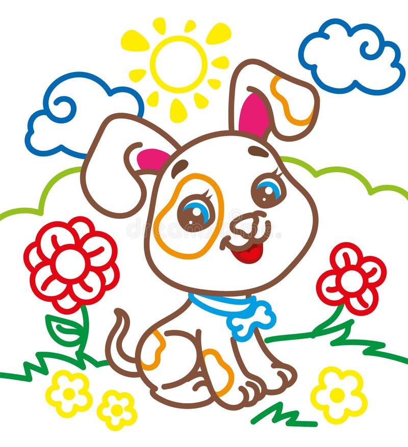 逗人喜爱的小狗彩图  向量例证