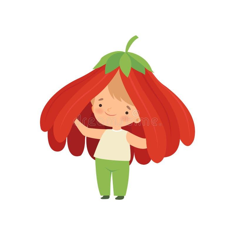 逗人喜爱的小男孩佩带的花服装,佩带红色花头饰动画片传染媒介例证的可爱的孩子字符 皇族释放例证