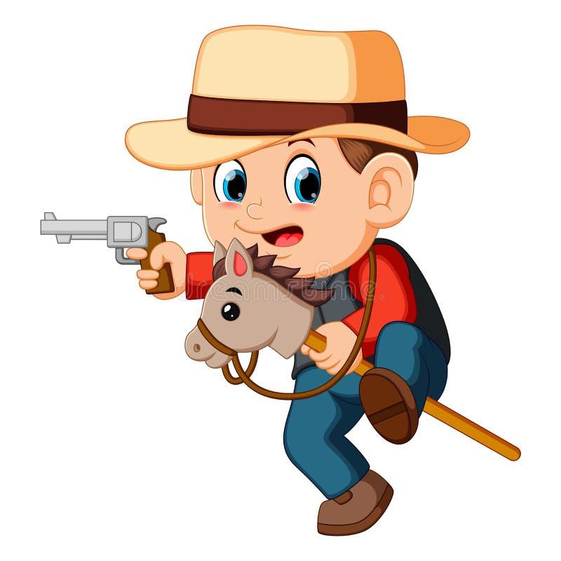 逗人喜爱的小男孩使用与在棍子的一匹马的和枪戏弄 向量例证