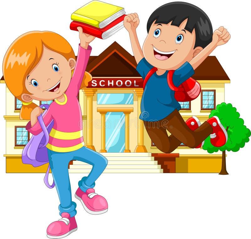 逗人喜爱的小男孩和女孩有背包和书的在教学楼背景 皇族释放例证
