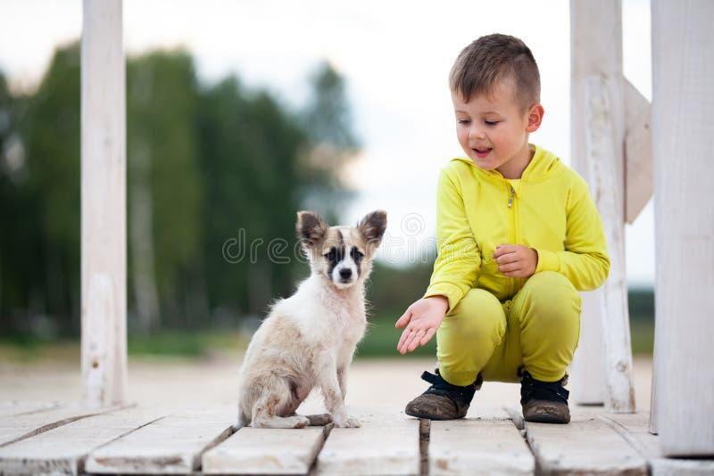 逗人喜爱的小男孩坐与他的狗的人行桥 r 免版税库存照片