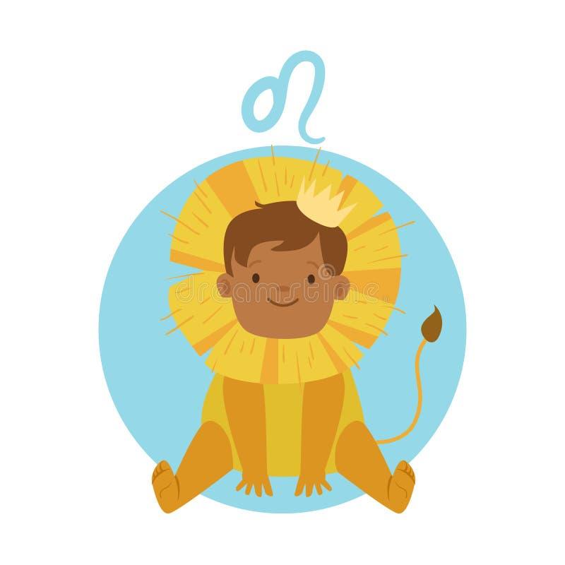 逗人喜爱的小男孩当利奥占星术标志 占星标志五颜六色的字符传染媒介例证 库存例证