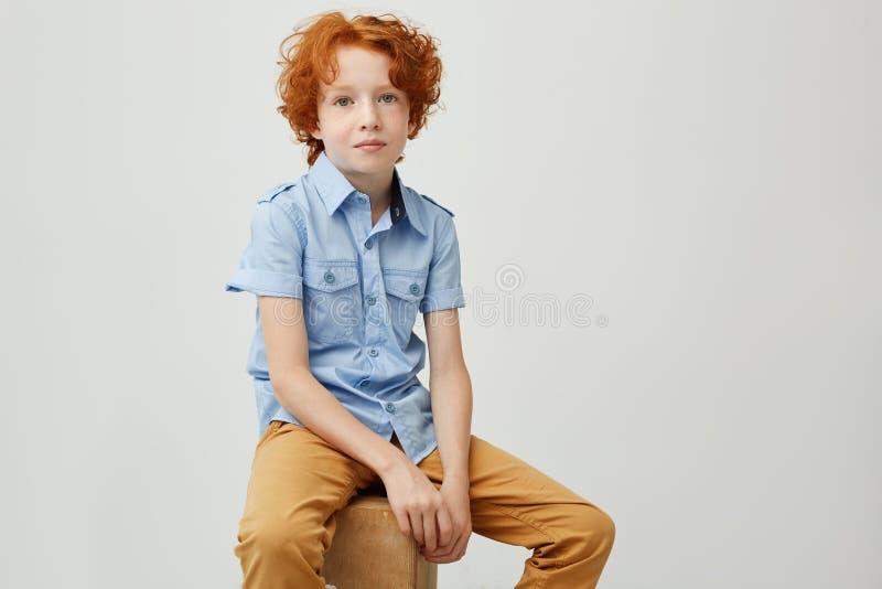 逗人喜爱的小男孩画象有看在与严肃的表示的照相机的卷曲姜头发的,坐箱子,摆在 免版税库存照片