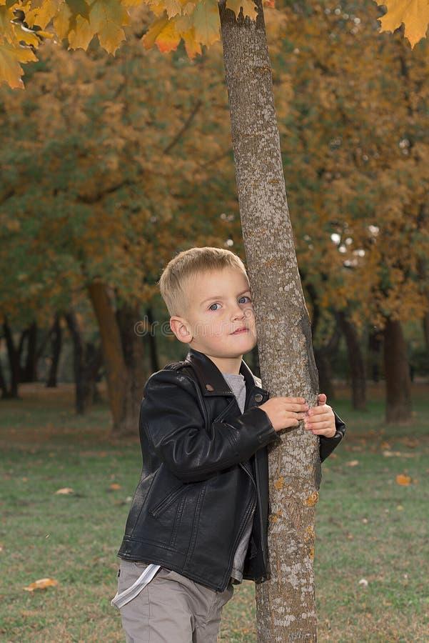 逗人喜爱的小男孩画象黑皮夹克的 库存照片
