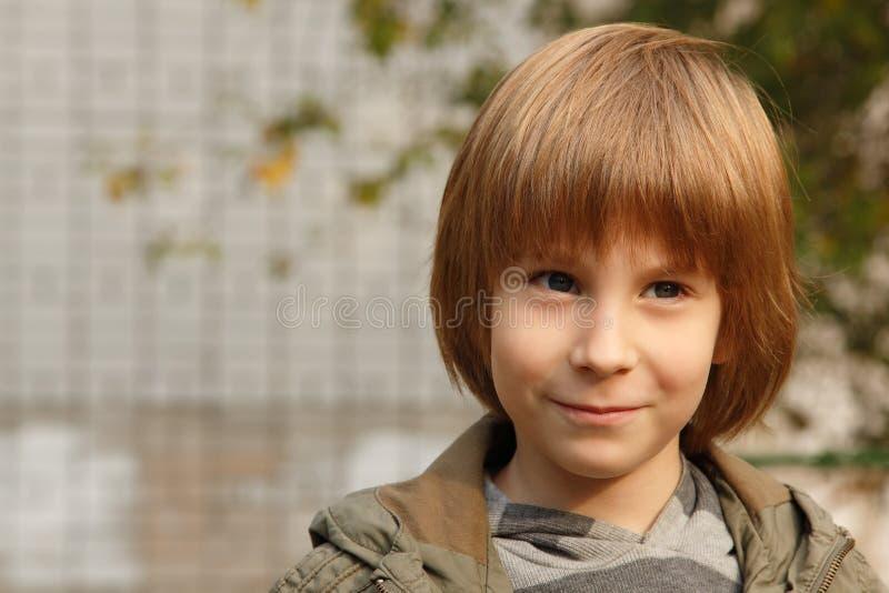 逗人喜爱的小男孩,室外画象 库存图片