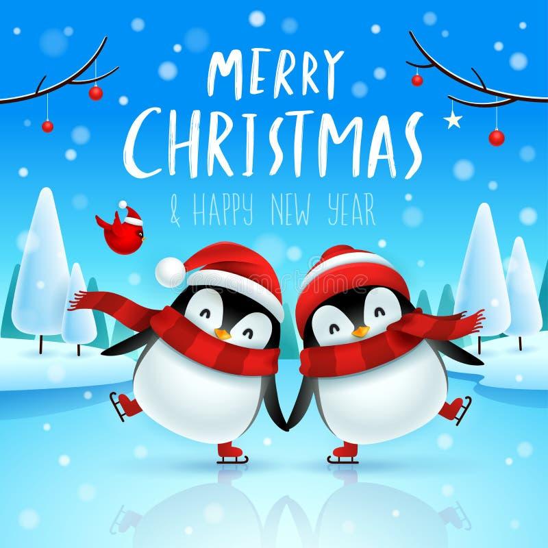 逗人喜爱的小的企鹅在圣诞节雪场面的冻河滑冰 圣诞节逗人喜爱的动物卡通人物 皇族释放例证