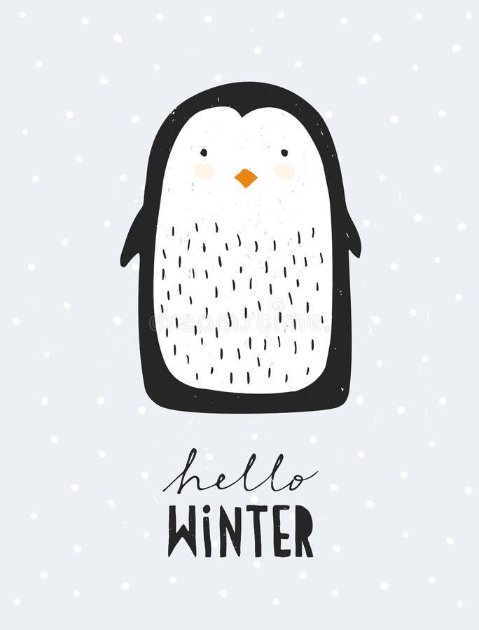 逗人喜爱的小的企鹅Vecor例证 可爱的托儿所艺术 你好冬天 皇族释放例证