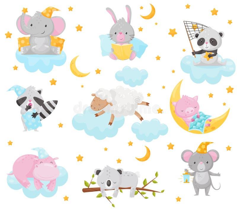 逗人喜爱的小的动物睡觉在满天星斗的天空下的被设置,可爱的大象,兔宝宝,熊猫,浣熊,绵羊,小猪,河马 皇族释放例证