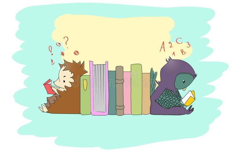 逗人喜爱的小的动物阅读书 库存例证